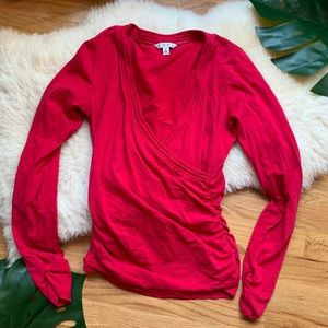 Cabi💕Guava Wrap Crossover Long Sleeve Top Blouse